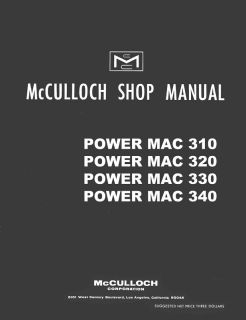 McCulloch Power Mac 310 320 330 340 Chain Saw Manual Package Owners