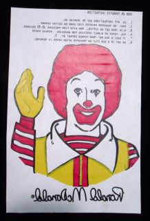 Happy Meal Character T Shirt Iron on Transfer Ronald McDonald