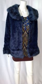 Von Maur Sioni Faux Fur Coat Midnight Blue Luxury Couture Line $139 00