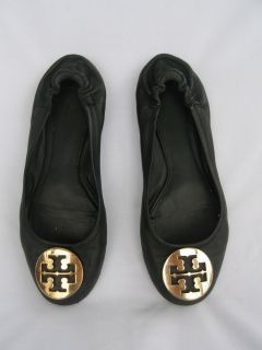 Tory Burch Reva Black Soft Leather Ballet Flats Shoes size 9 5 Trashed