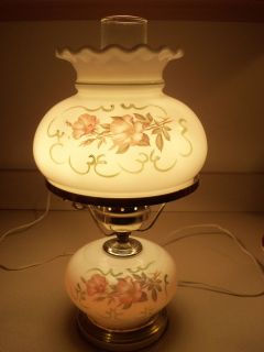 Vintage Floral Milk Glass Hurricane 3 Way Table Lamp Works