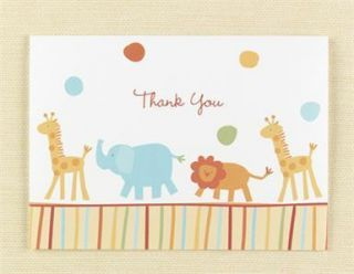 25 Jungle Animals Baby Shower Party Thank You Cards Lot