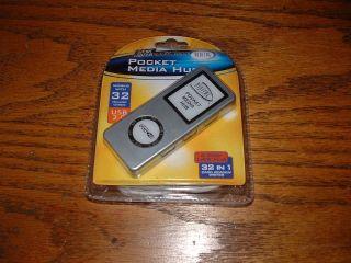 usb pocket media hub+digital camera media card reader/writer. 32 cards