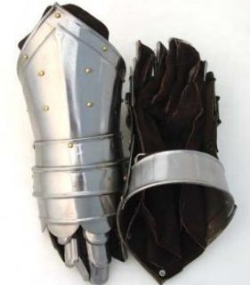 Leather Metal Gauntlet Armor Gloves Costume Medieval