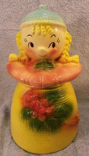 American Bisque Blond Yarn Doll Cookie Jar 1950S