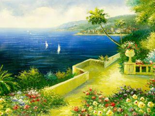 Mediterranean Flower Garden Is A Large Original Oil Painting by