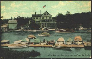 Bath Maine Me 1912 New Meadows Inn on New Meadows River