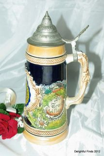 West German University of California 1L Lidded Beer Stein
