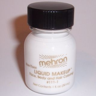 White Body Hair Liquid Makeup Mehron Face Paint Color Halloween