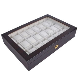 Mens Watch Display Glass Top Case Organizer Collector Jewelry Box