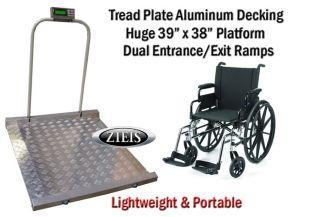 Portable Digital Wheelchair Medical Scale Dual Fold Hand Rails Ramp