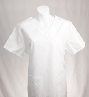 White Mock Wrap Scrub Top XS XSmall Medical Nursing Scrubs New