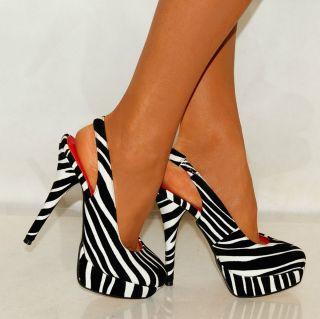 Ladies Black White Animal Print Zebra Print High Heels Sling Backs
