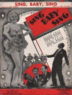 1936 Alice Faye Film Song Sing Baby Sing Jack Yellen Lew Pollack Ritz