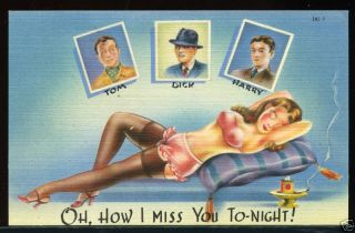 1940s WWII Era Pin Up Girl Women Art Linen Postcard 3