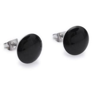 Black Circle Beauty Stainless Steel Stud Hoop Mens Earrings E104