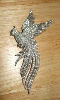 Large Vintage Trifari Rhinestone Bird Pin Brooch Signed