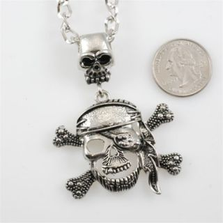 Mens Necklace Skull Pirate Pendant Chain