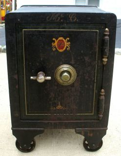 Antique Iron Meilink Floor Safe on Wheels Nice Original