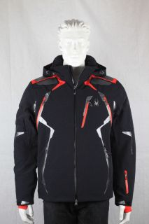 Spyder Mens Pinnacle Ski Snowboard Jacket Black Red Silver Winter