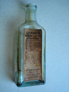 Vintage Cranes Quinine and Tar Compound Medicine Bottle Chicago IL