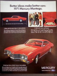 1970 Vintage Car Ad Red Mercury Montego 71 Automobile