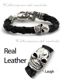 Mens Leather Bracelet Black Skull Cord Cuff Braid Biker
