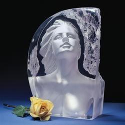Reflections Romance Sculpture Woman Crystal Bust Glass