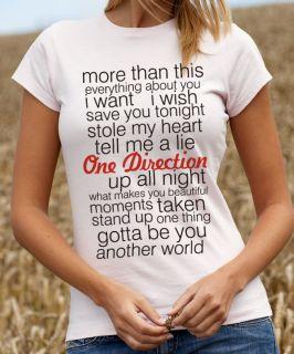 One Direction T Shirt 1 Direction Song Lyrics Tee Shirt Tshirt TTC2179