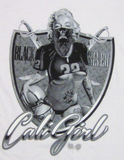 Marilyn Monroe T Shirt Cali Girl Football Raiders Tee Womens Juniors s