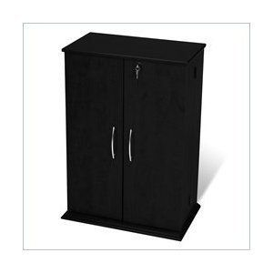 BLACK Media Storage Cabinet w Lock Locking Shaker Doors New DVD CD PP
