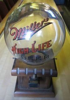 VINTAGE MILLER HIGH LIFE BEER BUBBLE GUM PEANUT DISPENSER WOOD GLASS