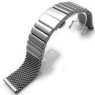 22mm Heavy Stainless Steel Mesh Watch Solid Link Deployment Strap B