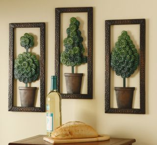 Set of 3 Topiary Metal Wall Decor Art Evergreen 3D Wall Hanging