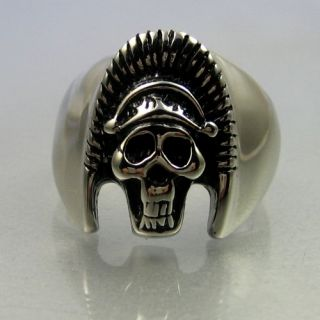 Biker Stainless Steel Skull Egyptian Pharaoh Mens Ring