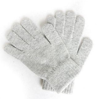 Mens Winter Gloves Gray Wool Soft Stretch Knit Sz Large