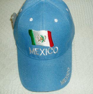 Mexico Flag Baseball Cap Hat Blue Velcro Adjust New