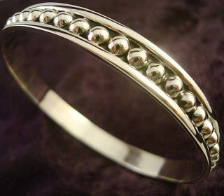 Taxco Mexican Sterling Silver Beaded Bead Bangle Bracelet Mexico