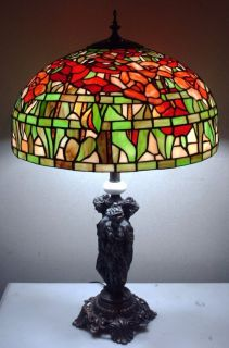 LARGE VINTAGE MEYDA TIFFANY FLORAL STAINED GLASS LAMP SHADE 3 LADY