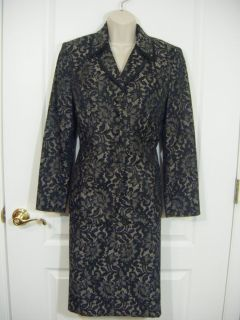 Le Suit Blazer Jacket Skirt Womens Size 10 Petite P Black Gray Floral