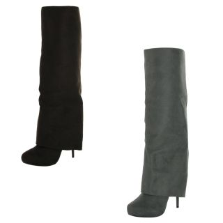 Michael Antonio Okal Womens Faux Suede Knee High Cuff Boots