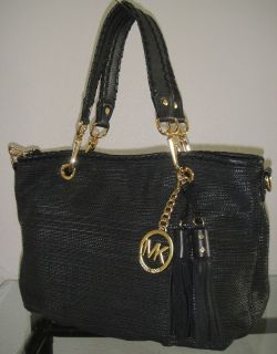 New Michael Kors Bennet Black Leather Woven Straw Purse Shoulder Bag