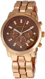 Michael Kors Watch Rose Gold Tone s Steel Chrono MOP Dial Crystals