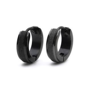Black Matted Stainless Steel Stud Hoop Mens Earrings E189