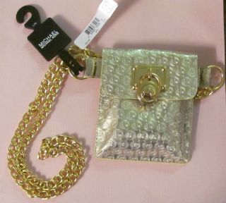 Michael Kors MK Logo Hamilton Gold Metallic Mirror Belt Pouch SM Purse