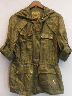 MICHAEL Michael Kors Sz L Hooded Linen Anorak Jacket Safari Green NEW
