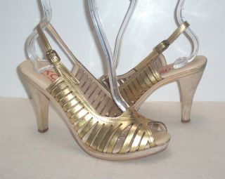 US Michael Kors Gold Leather Italy Open Toe Slingback 3 5 Heel Wood