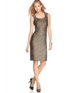 Michael Kors NEW Gold Metallic Front Drape Wear to Work Dress Petites