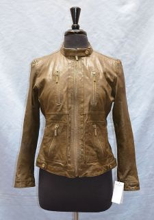 New Auth Michael Kors Leather Motorcycle Style Jacket Size L 495 00