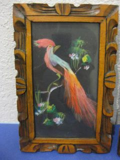 Vtg Pair Small Mexican Folk Art Bird Feather Craft Keaton Importing Co
